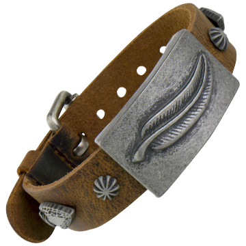 Spirit Brown Leather Magnetic Wristband