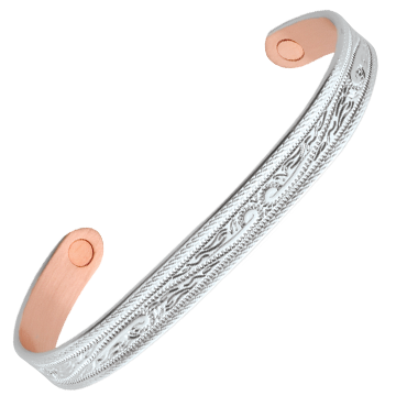 Silver Western Scroll Magnetic Wristband