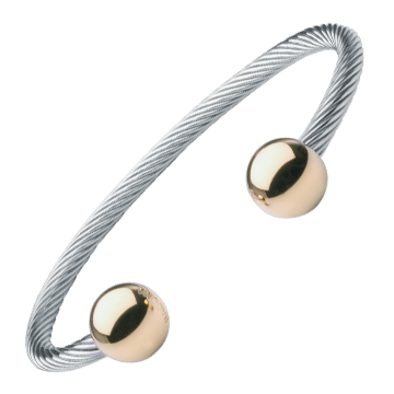 Cable Magnetic Bracelet with Gold Balls