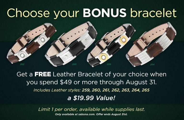 Free Leather Bracelet through August!