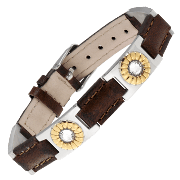 Brown Leather Gem Duet Magnetic Bracelet