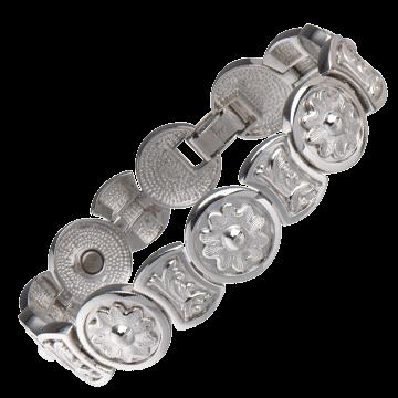 .925 Sterling Round Flower Magnetic Bracelet
