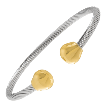 Professional Steel Twist Magnetic Bracelet - Gold Ends