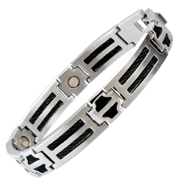 Black Cable Stainless Magnetic Bracelet