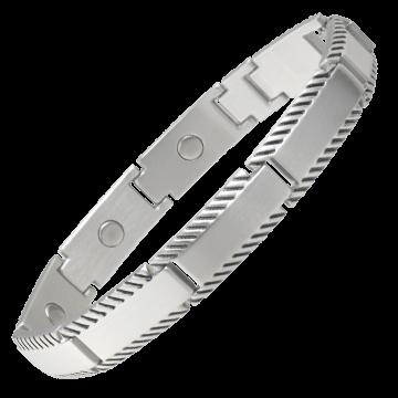 Brushed Stainless Rope Edge Magnetic Bracelet