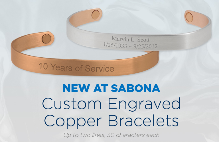 Custom Engraved Sabona Copper Bracelets