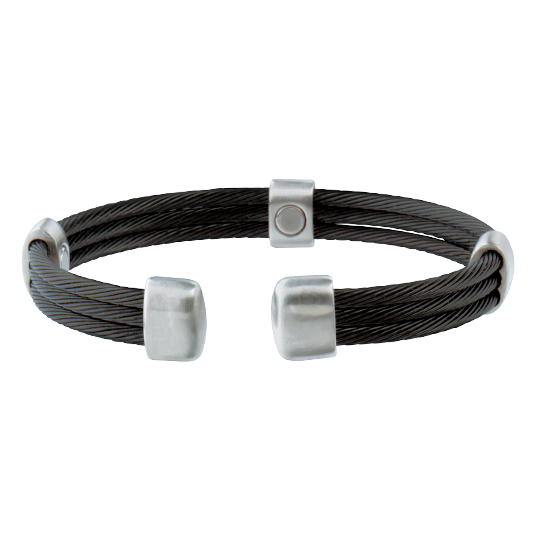Trio Cable Black/Satin Stainless Magnetic Wristband