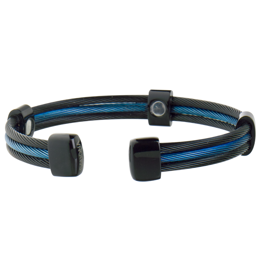 Trio Cable Black/Blue Line Magnetic Bracelet