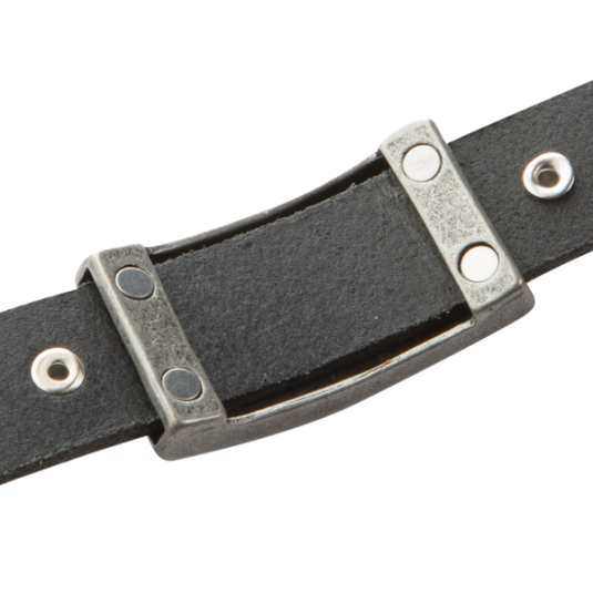 Sierra Black Leather Magnetic Wristband