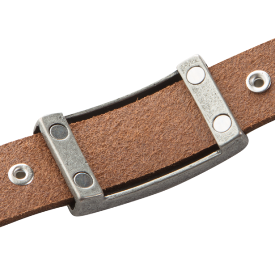 Mission Brown Leather Magnetic Wristband