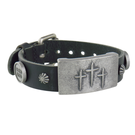Mission Black Leather Magnetic Wristband