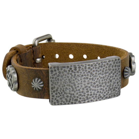 Sierra Brown Leather Magnetic Wristband