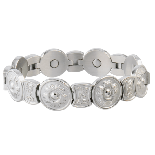 Round Flower Stainless Magnetic Bracelet
