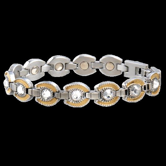 Ladies Gem Gold Horseshoe Magnetic Bracelet