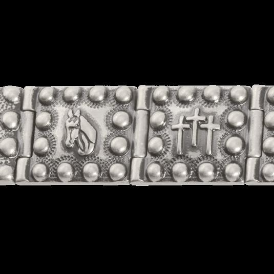 Antique Horsehead Crosses Magnetic Bracelet, closeup