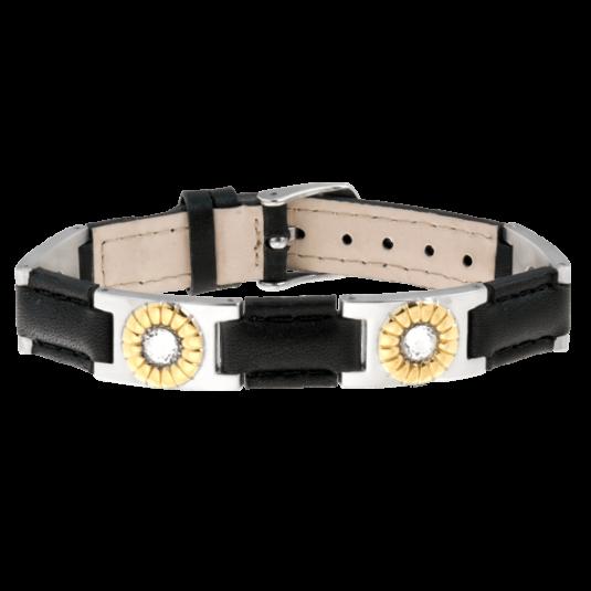 Black Leather Gem Duet Magnetic Bracelet
