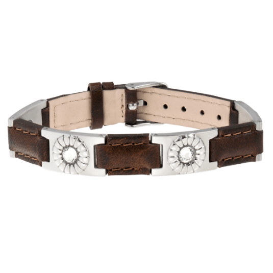 Brown Leather Gem Stainless Magnetic Bracelet