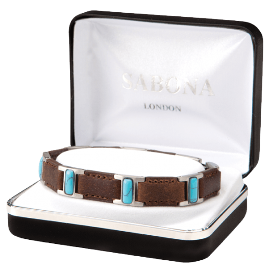 Brown Leather Turquoise Magnetic Bracelet, case