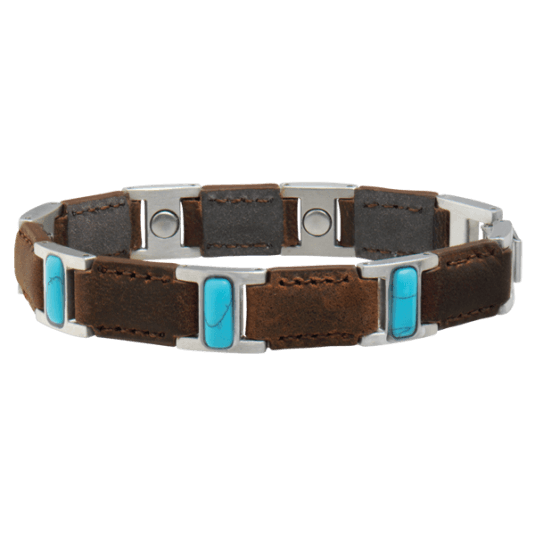 Brown Leather Turquoise Magnetic Bracelet
