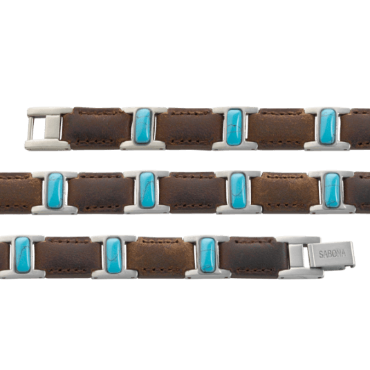 Brown Leather Turquoise Magnetic Bracelet, straight