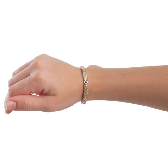 Lady Executive Two-Tone Gem Magnetic Bracelet