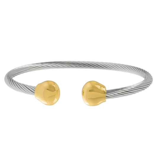 Professional Steel Twist Magnetic Bracelet  - Gold Ends