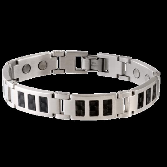 Black Carbon Fiber Stainless Magnetic Bracelet