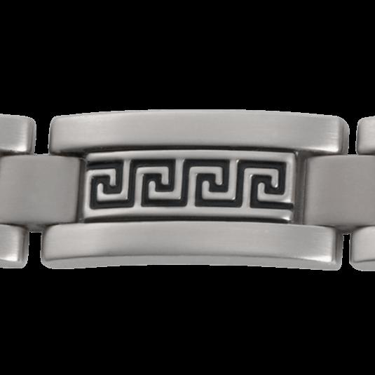 Greek Key Stainless Magnetic Bracelet, closeup
