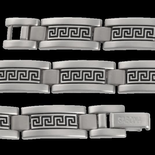 Greek Key Stainless Magnetic Bracelet, straight