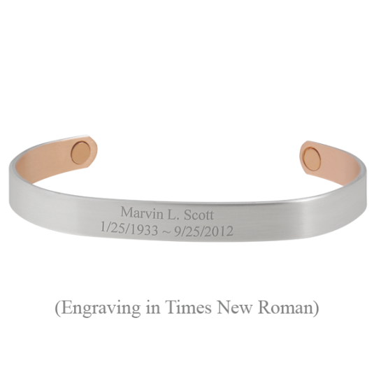 Custom Engraved Sabona Silver-Plated Copper Bracelet, engraving in Times New Roman