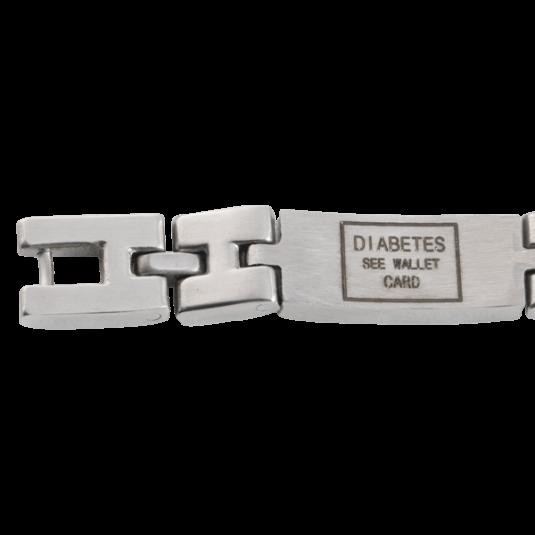 Unisex Magnetic Med ID Bracelet - Diabetic, closeup