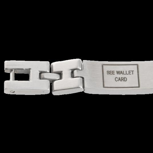 Unisex Magnetic Med ID Bracelet - See Wallet Card, closeup