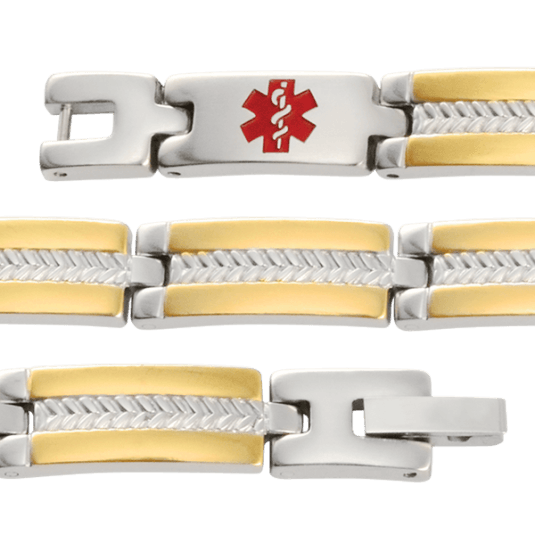 Two-Tone My Conditions Medical ID Bracelet, straight