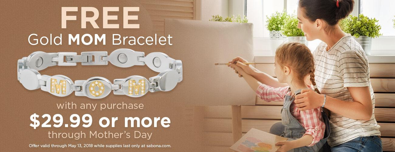 FREE Gold MOM Bracelet through Mother's Day!