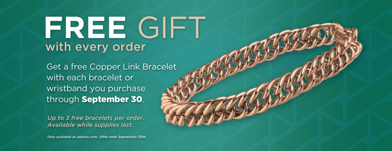 Free Copper Link Bracelet with every order!