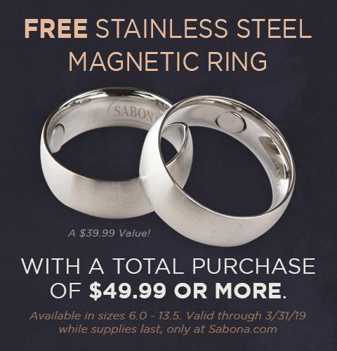 Free Stainless Steel Magnetic Ring with $49.99 Purchase